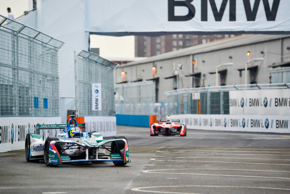 | Driver: Felix Rosenqvist| Team: Mahindra Racing| Number: 19| Car: M3 Electro|| Photographer: Nat Twiss| Event: New York ePrix| Circuit: Brooklyn Circuit| Location: Brooklyn, NY| Series: FIA Formula E| Season: 2016-2017| Country: US|| Session: FP1|